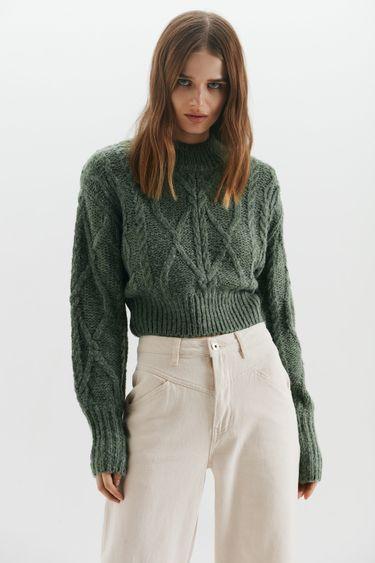 Укороченный свитер крупной вязки 1450320813