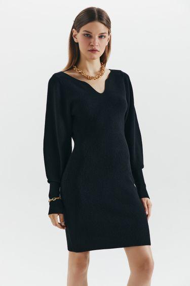 Трикотажное платье с фигурным декольте 1450323502