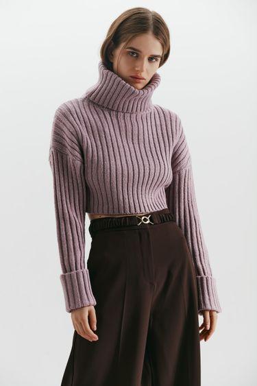 Укороченный свитер с горлом 1450337827