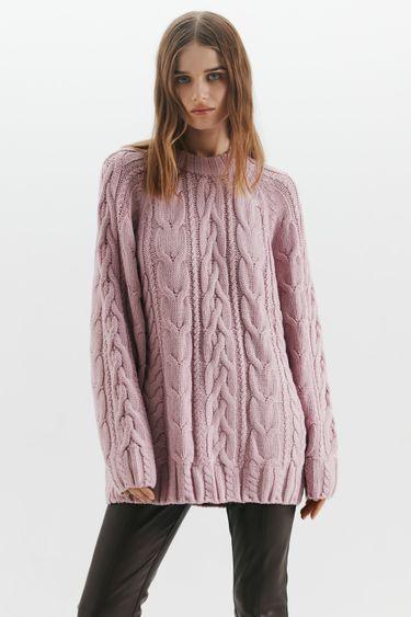 Вязаный свитер с косами 1450383851