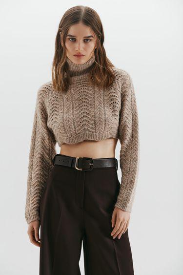 Укороченный свитер с высоким воротом 1450384850