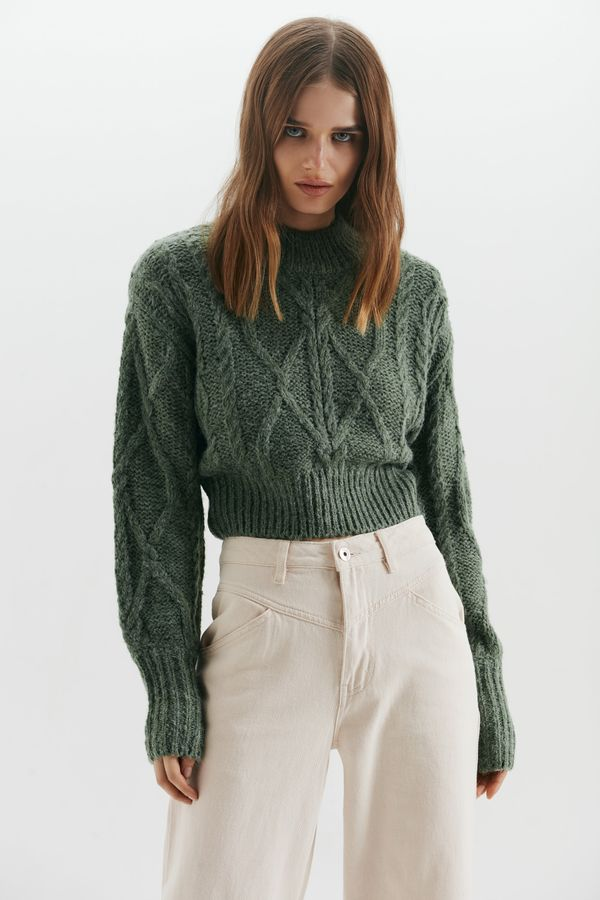 Укороченный свитер крупной вязки 1450320813-12