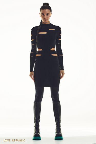 Трикотажное платье с вырезами 1451331549