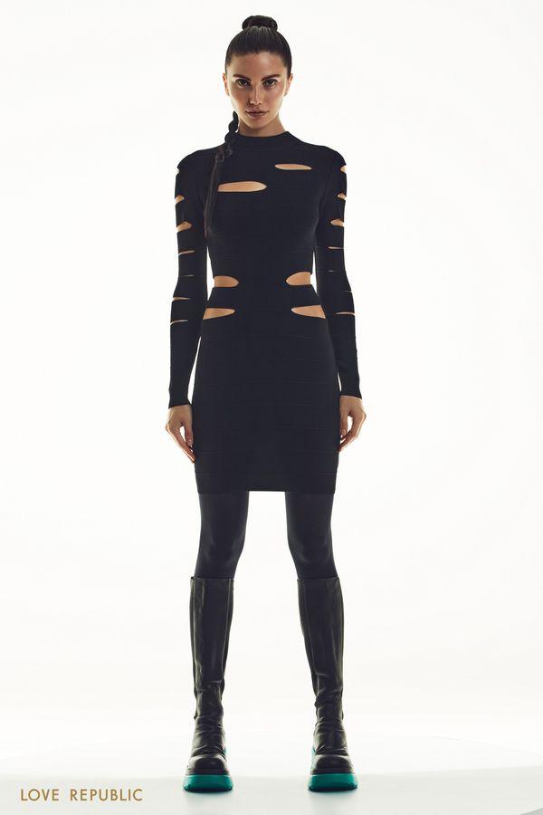 Трикотажное платье с вырезами 1451331549-50