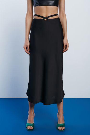 Атласная юбка с завязками на талии 1452001201