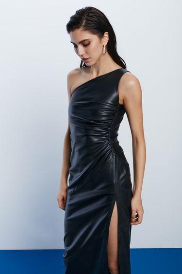 Платье на одно плечо из экокожи 1452214515