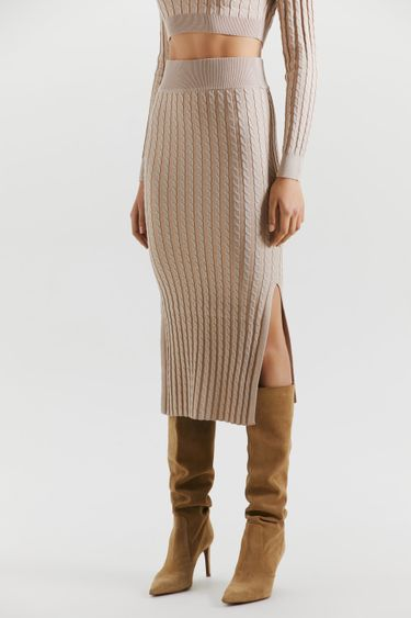 Трикотажная юбка-карандаш с косами 2151317210