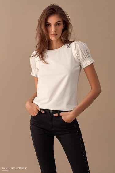 Блузка с объёмными короткими рукавами  9358020346