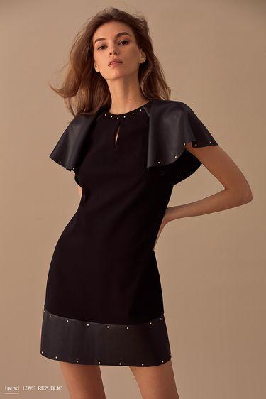 Мини-платье со вставками из искусственной кожи 9358044544