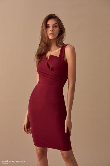 Платье-футляр с лифом на запахе  9358061529