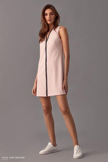 Короткое платье с декором из бусин 9358061531