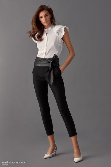 Узкие брюки с поясом из искусственной кожи 9358064732