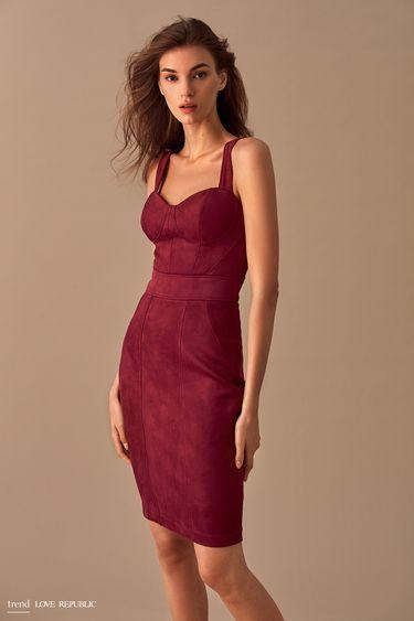 Платье-футляр из мягкой искусственной замши 9358066526