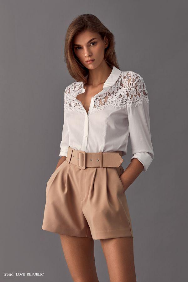 Блузка с кружевной вставкой 9358001321-1