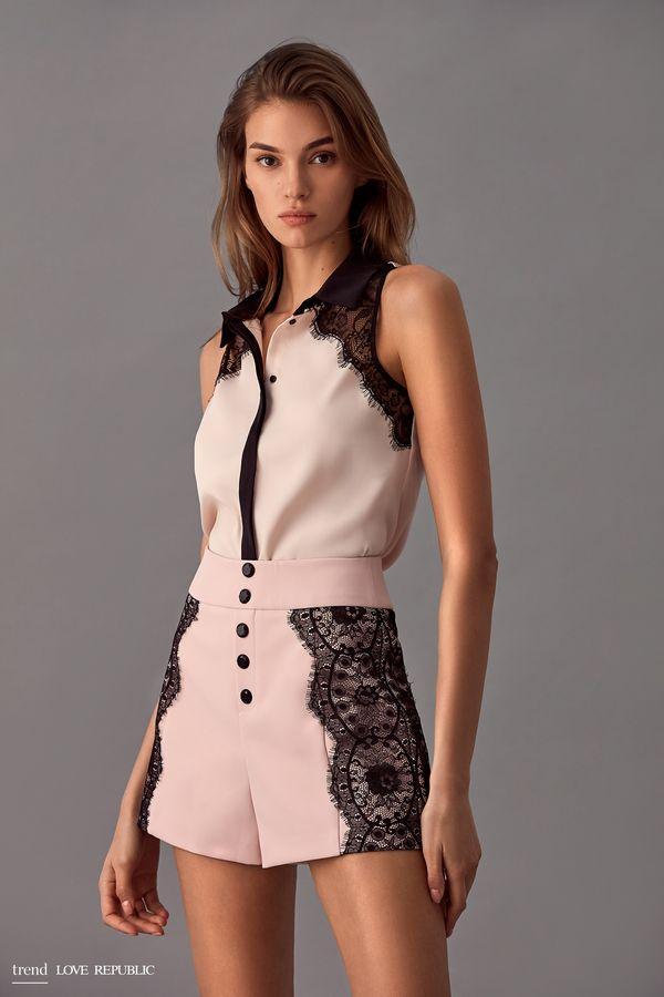 Блузка без рукавов с кружевом 9358003323-61