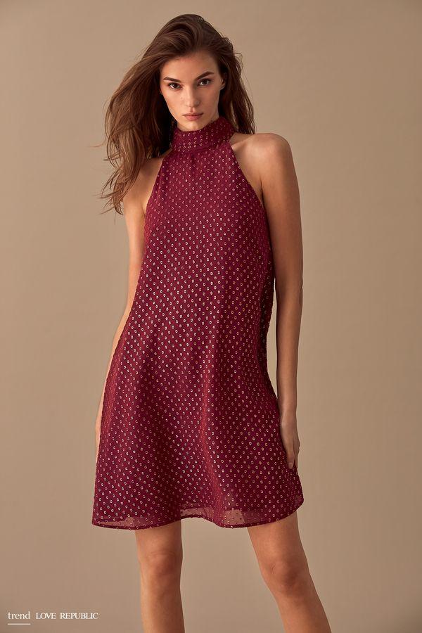 Платье-халтер с воротником-стойкой 9358004524-71
