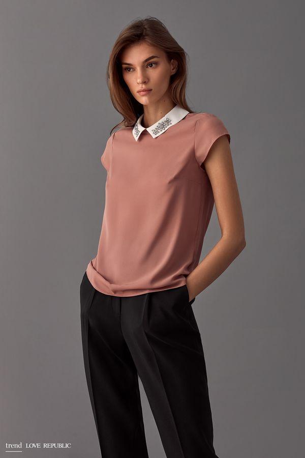 Блузка с декорированным воротником 9358005325-66