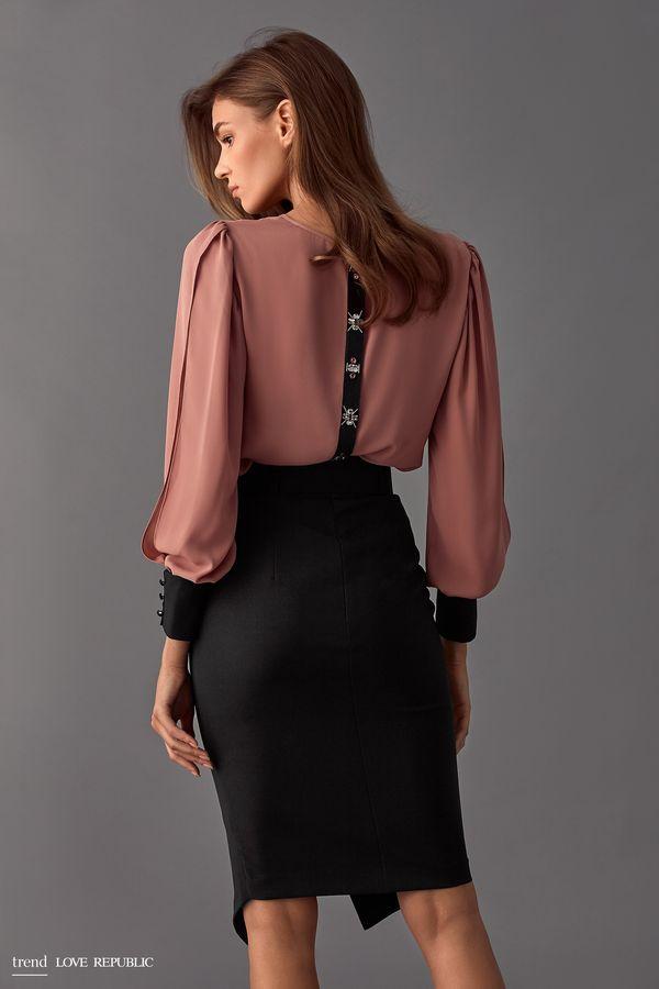 Блузка с разрезами на длинных рукавах 9358014304-60