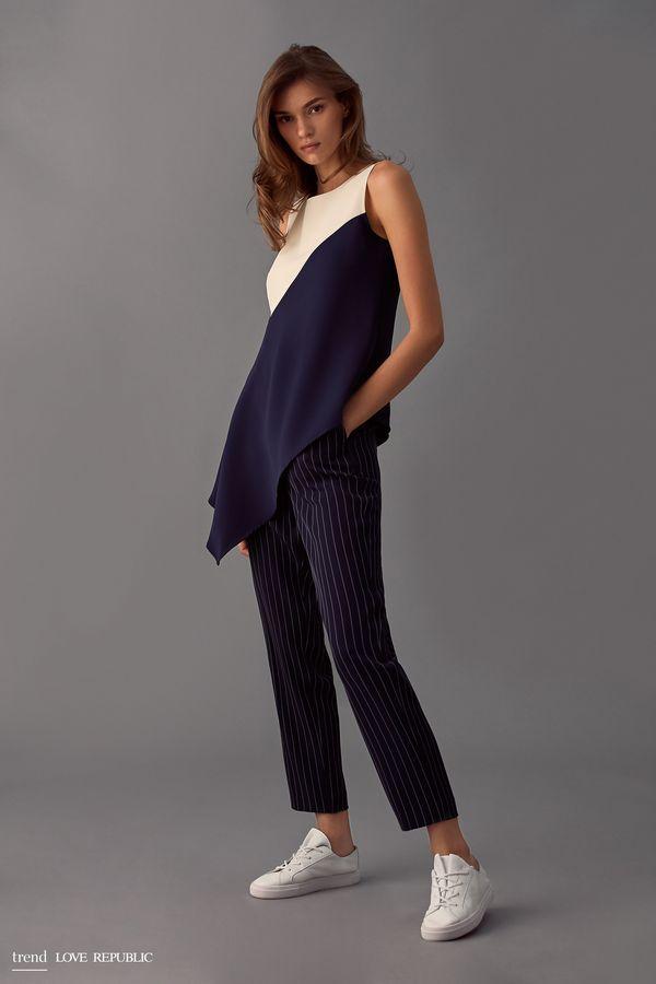 Асимметричная блузка без рукавов 9358016349-47