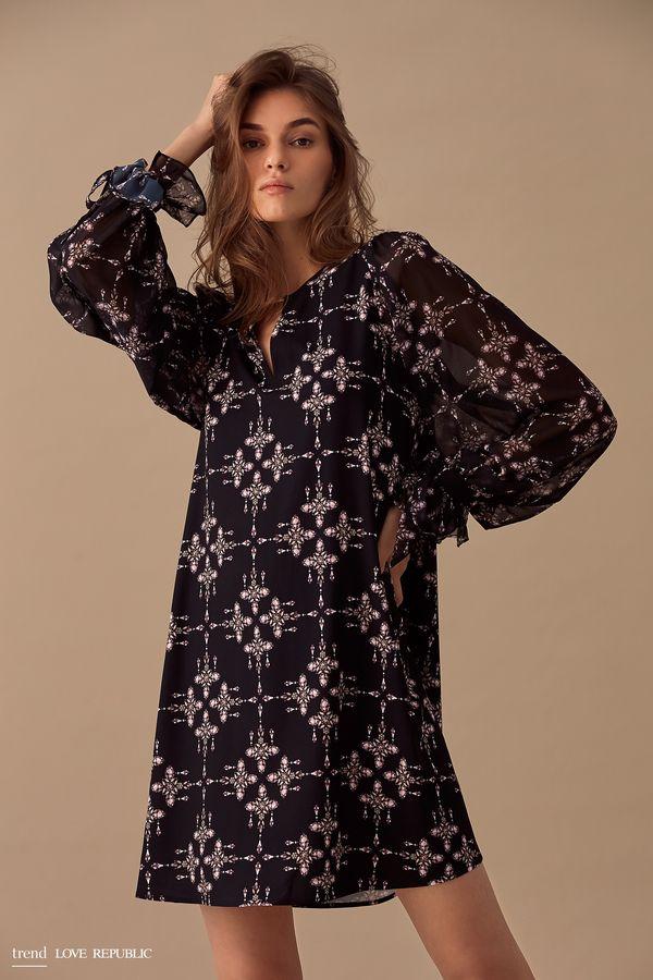 Короткое прямое платье с принтом 9358033533-55