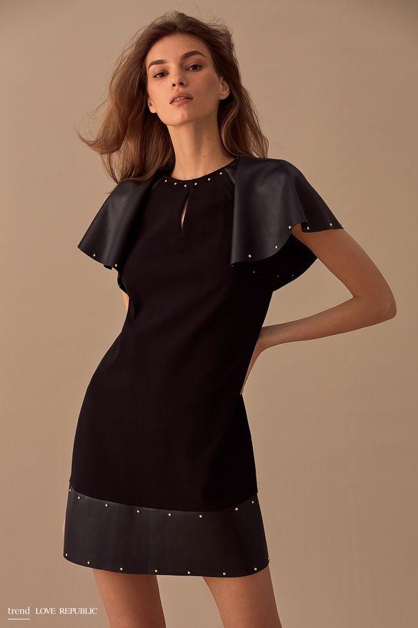 Мини-платье со вставками из искусственной кожи 9358044544-50
