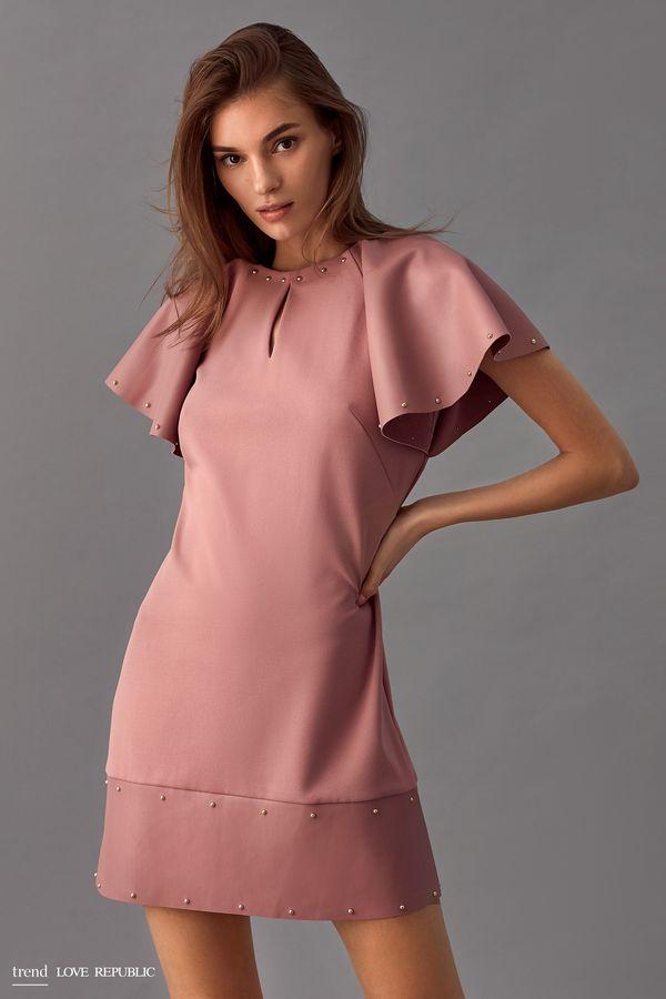 Мини-платье со вставками из искусственной кожи 9358044544-66