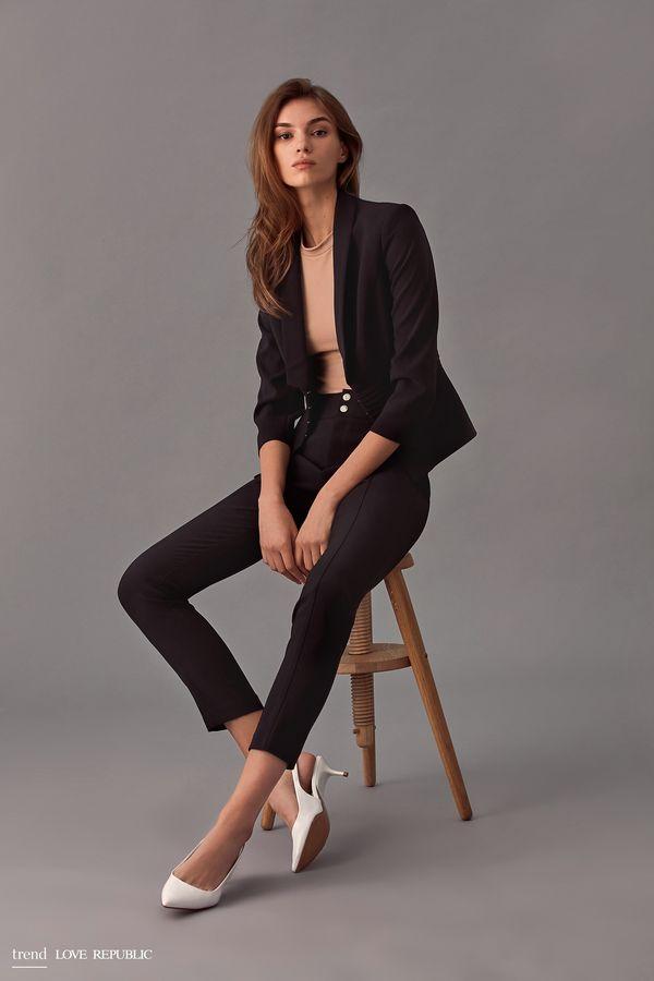 Зауженные брюки с широким поясом 9358061728-50