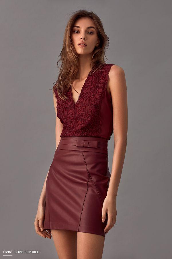 Короткая юбка из искусственной кожи 9358063224-73