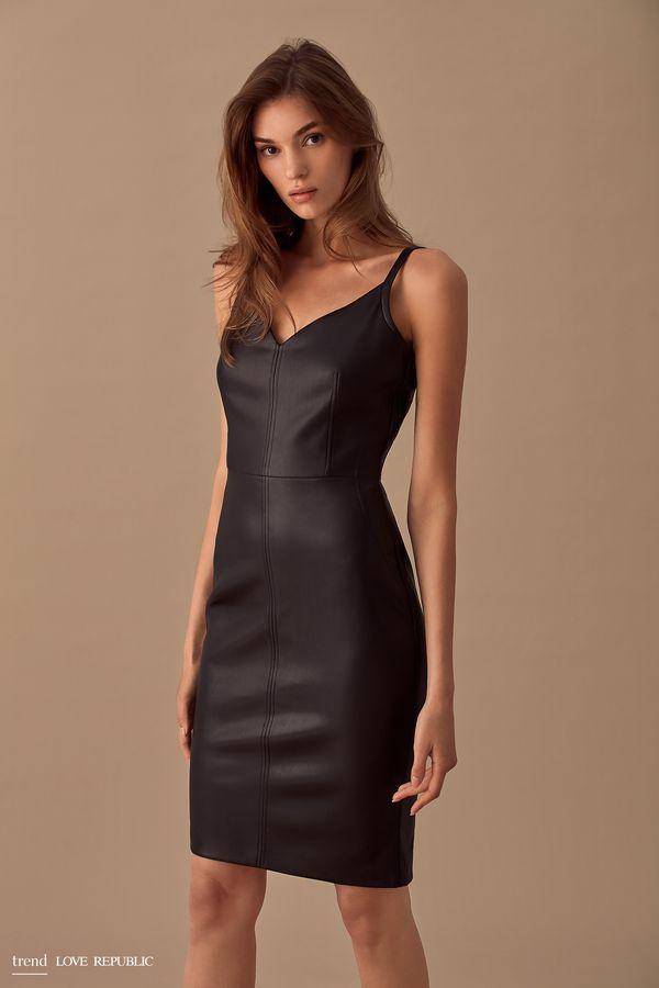 Открытое платье-футляр из искусственной кожи 9358063562-71