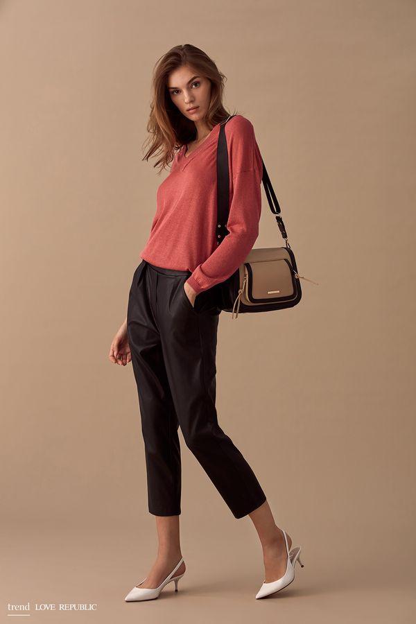 Укороченные брюки из искусственной кожи 9358081733-50