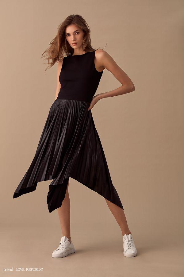 Платье без рукавов с асимметричной юбкой 9358082565-73