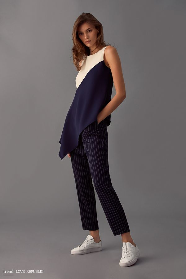 Укороченные брюки в полоску 9358083729-47