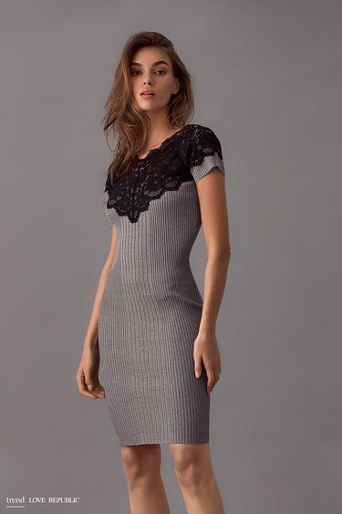 Платье миди с кружевом на плечах 9358135525