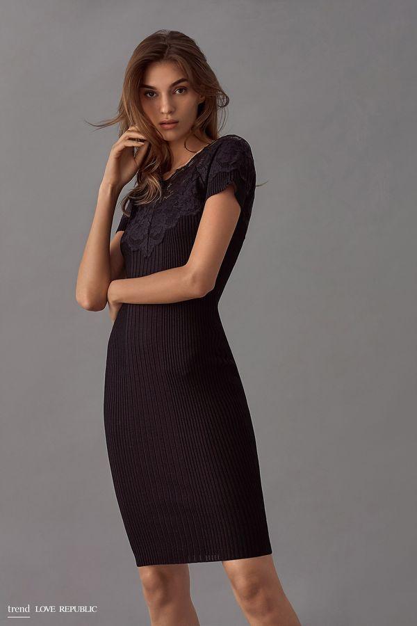 Платье миди с кружевом на плечах 9358135525-92