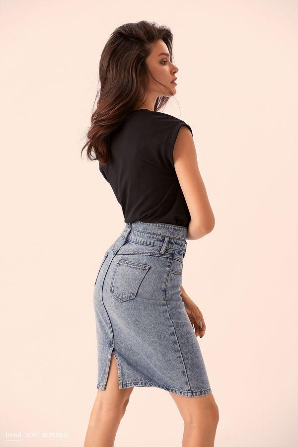Короткая джинсовая юбка с застёжками 9358196234-40