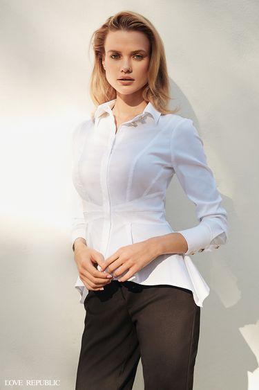 Блузка из хлопковой ткани с баской 9358256317