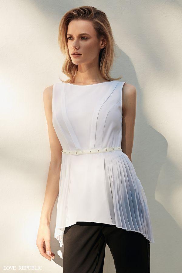 Блузка с плиссированной баской 9358257319-1