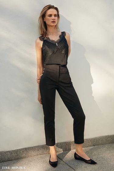 Укороченные брюки с металлическим декором 9358311711