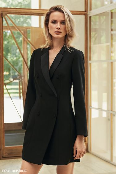 Двубортное платье-пиджак с пуговицами 9358325510