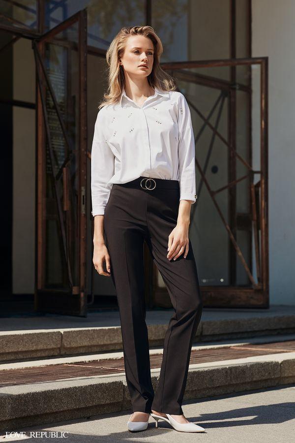 Длинные чёрные брюки с завышенной талией 9358317712-50
