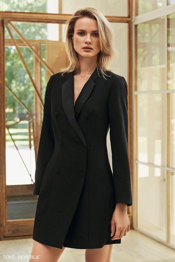 Двубортное платье-пиджак с пуговицами 9358325510-50
