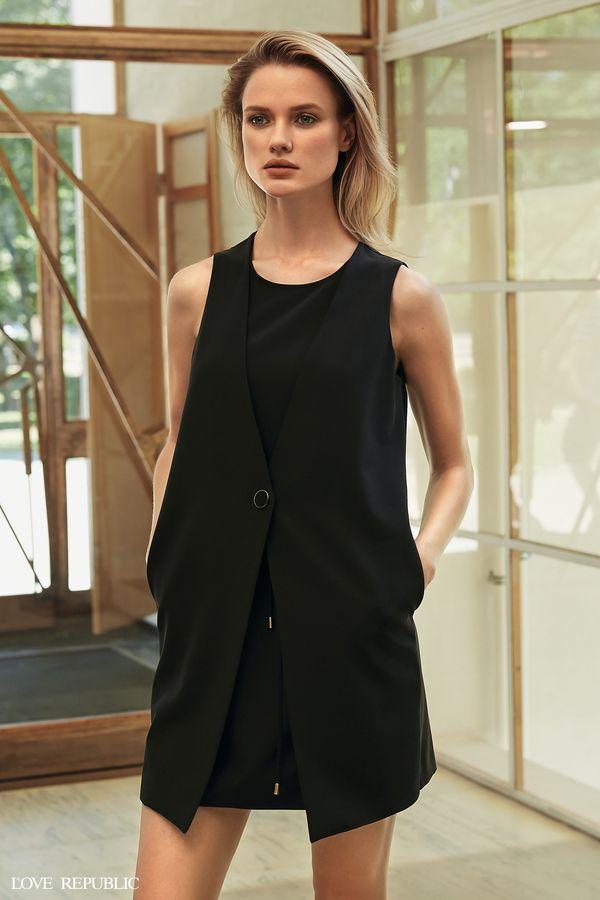 Короткое платье-жилет без рукавов  9358326509-73