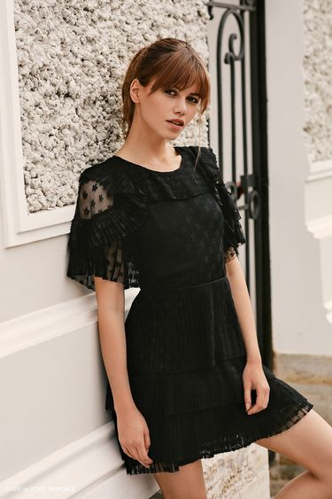 Мини-платье из сетки на подкладке 9358510554