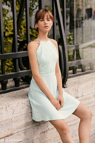 Платье-халтер с кружевным верхом 9358563573
