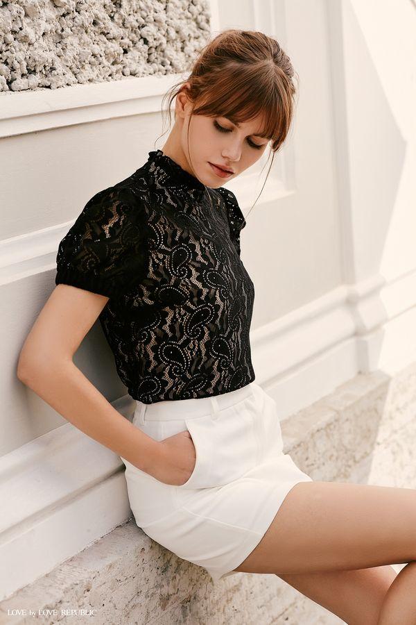 Кружевная блузка с высоким воротником 9358501332-50