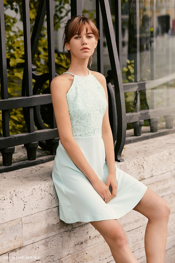 Платье-халтер с кружевным верхом 9358563573-47