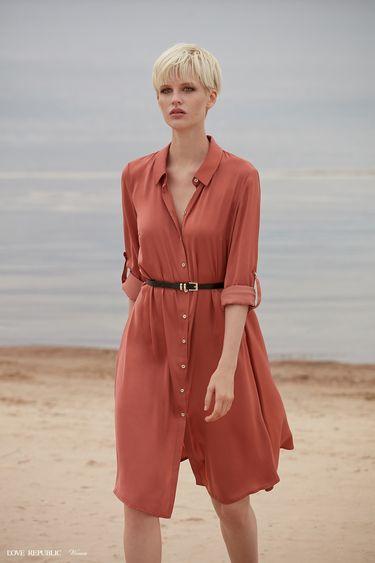 Платье-рубашка с ремнём 9358780540