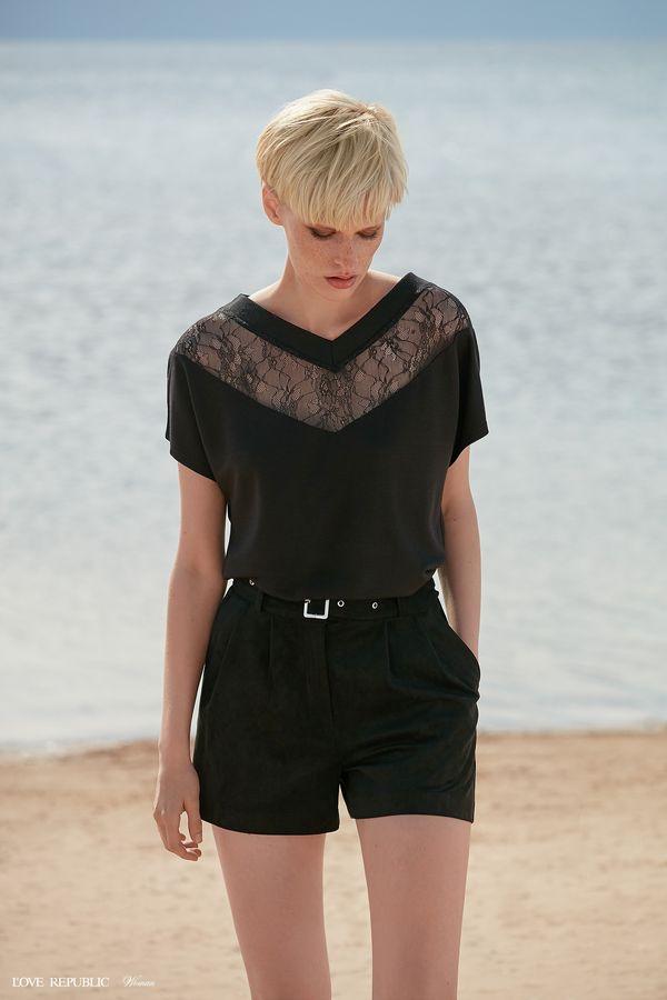 Блузка с короткими рукавами и кружевом 9358751307-50