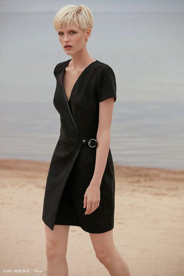 Мини-платье на запах с короткими рукавами 9358755517-70