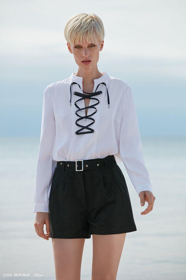 Рубашка с контрастной шнуровкой 9358759337-1